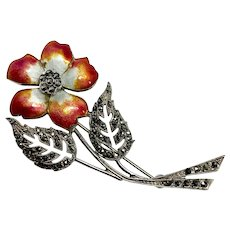 Red Enamel Flower Brooch, Sterling Silver Marcasite Multi Color Enamel Flower Pin