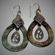 Abalone Shell Sterling Silver Dangle Vacation Earrings on Silver Wires