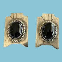Vintage Native American Mexican Onyx and Silver Post Earrings, Unsigned