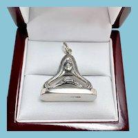 Art Nouveau Lady Sterling Silver Pendant/Watch Fob/Charm