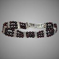 Garnet Beaded Bracelet in Sterling Silver, Garnet three strand bracelet