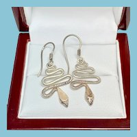 Sterling Silver Snake Earrings, Dangle Snake Pierced Earrings