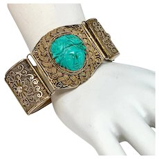 Chinese Export Carved Turquoise Bracelet by PeiPing,Yang