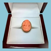 Vintage Coral Cameo Ring 14 Kt filigree setting, Size 7