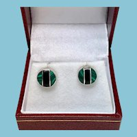Malachite and Jet Sterling Stud Earrings