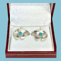 Santa Fe Bear Sterling and Turquoise Stud Earrings