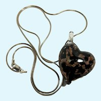 Murano Glass Heart Pendant, Sterling Silver Snake Chain