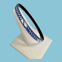 Michaela Frey Blue and White Enamel Bangle Bracelet