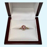 Small Diamond and Pink Sapphire Flower Ring, Size 5.75
