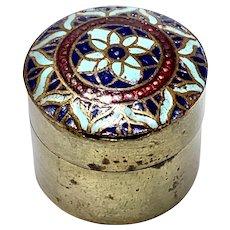 Tiny French Enamel Pill Box, Thimble holder