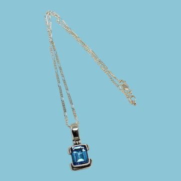 Blue Topaz Sterling Silver Pendant on Sterling Chain