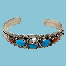 Navajo Turquoise and Coral Sterling Silver Large Cuff Bracelet by Virginia C