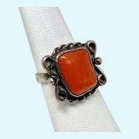 Red Coral Sterling Silver Native American Ring, Size 7.25