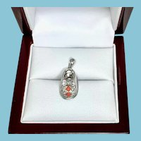 Baby Shoe Charm in 14 Karat white gold Diamond and Coral