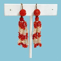 Early Victorian/Late Georgian Red and White Coral Tassel Earrings for pierced ears