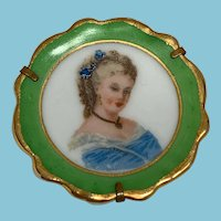 Vintage Limoges France portrait plate brooch