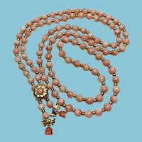 Vintage 14K  Japan Coral Bead Lariat Necklace with Gold and Coral Clasp