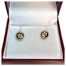 Tiny enamel flower earrings, Sterling enamel stud earrings, pierced ears