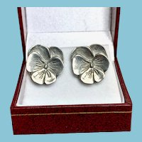 Pewter Pansy Earrings for Pierced Ears