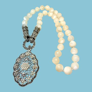 Mother of Pearl Marcasite Sterling Convertible Necklace