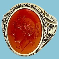Carnelian Intaglio Ring of Psyche in 14 Karat Gold, Size 8.25
