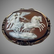 Antique Cameo, Angel with Horse drawn chariot, beautiful details