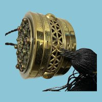 Antique Brass and Glass Traveling Compact With Silk Handle and Tassel