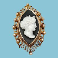 Victorian Black and White Agate Cameo in Rose Gold Pin/Pendant