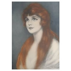 John Knowles Hare Original Pastel. Beautiful Red haired lady