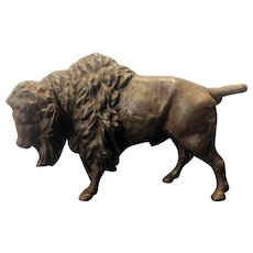 Cast Iron Buffalo Mechanical Bank. Twist Tail