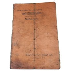 Original Pierce Single Cylinder Motorcycle Operating manual. 1910-1912