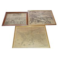 1500's Birds eye lithograph Maps of Italy. Braun and Hogenberg