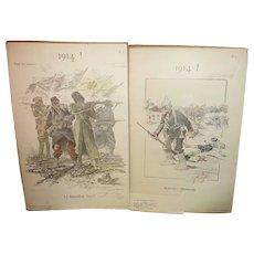 2- WW1 Original Prints. 1914. Maurice Neumont Allies and German