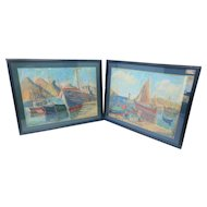 HILDEGARDE HAMILTON (1898-1970) impressionist painting. Ships docked and in a bay.