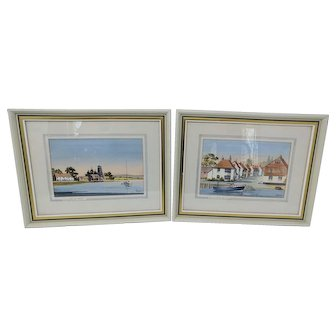 Two nice watercolors by David Bryan Holmes. Emsworth Quay and Langstone Mill