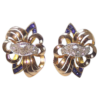 French diamond and sapphire double fleur de lis earrings