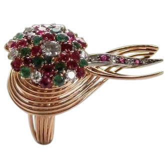 Sputnik ring with diamonds, rubies and emeralds