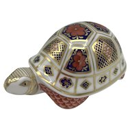 Royal Crown Derby Porcelain Imari Turtle Paperweight with box dated 1990.