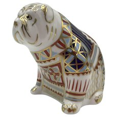 Vintage Royal Crown Derby Porcelain Bulldog Paperweight with box dated 1991