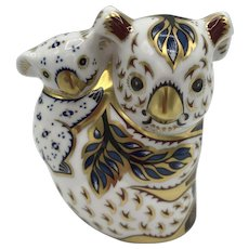 Vintage Royal Crown Derby Porcelain Koala and Baby Paperweight with box, certificate dated 1999
