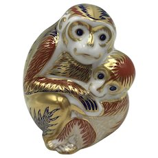 Vintage Royal Crown Derby Porcelain Monkey and Baby Paperweight with box dated 1991