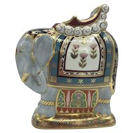 Royal Crown Derby Porcelain Mulberry Hall Indian Elephant with box, certificate dated 1997.