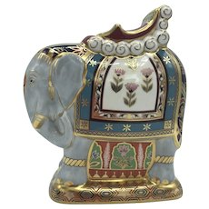 Vintage Royal Crown Derby Porcelain Mulberry Hall Indian Elephant with box, certificate dated 1997