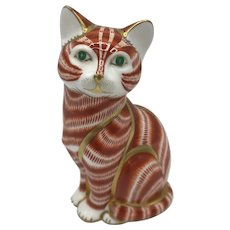 Royal Crown Derby Porcelain Ginger Cat NO box dated 1990.