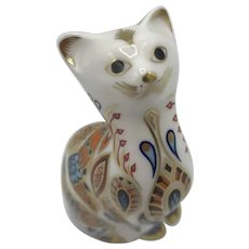 Vintage Royal Crown Derby Siamese Kitten Paperweight with box -1996