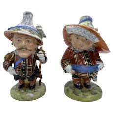 Pair-Limited Edition Royal Crown Derby Golden Jubilee Tall and Low Dwarf