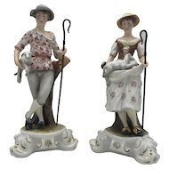 Vintage Royal Crown Derby Porcelain Shepherd and Shepherdess Pair with boxes from 1994
