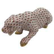 Vintage Herend Porcelain Crouching Panther -- Rust Fishnet Model 15353 (no box) Dated January 1992