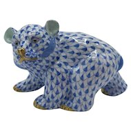 Vintage Herend Porcelain Walking Bear - Blue Fishnet Model 15362 (no box) Dated June 1991