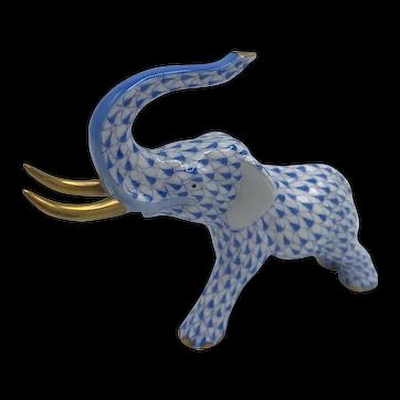 Herend Porcelain Charging Elephant -- Blue Fishnet Model 5266 (no box) dated June 1991.